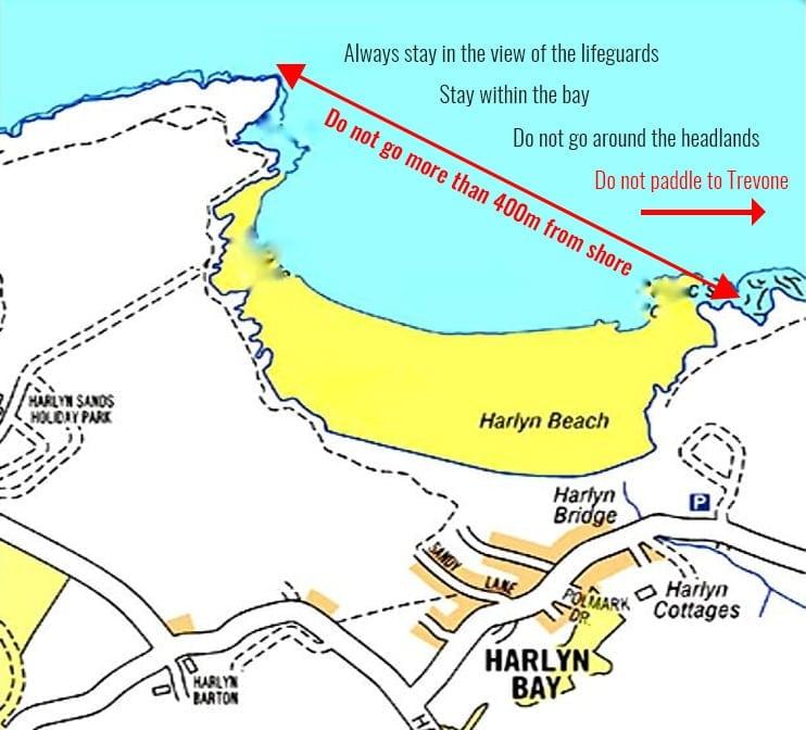 Kayak Safe Zones Map - Harlyn Surf School