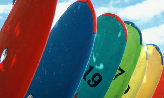 Multi coloured surf boards